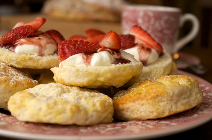 Collingwood Cooking Academy scones and cream and strawberries on display