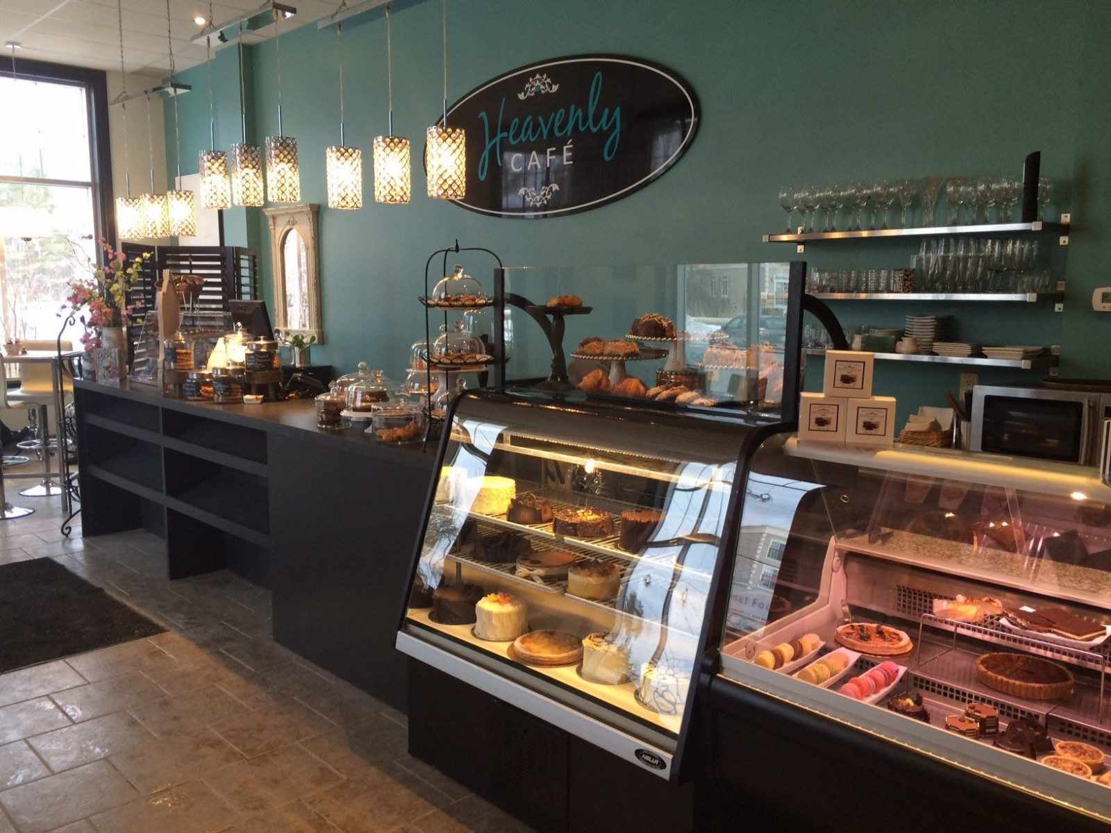 The interior of Heavenly Cafe showing counter with cakes and pastries