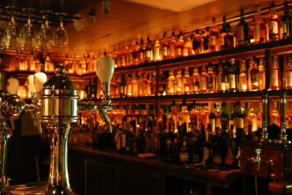 The whisky bar at The Dam Pub in Thornbury