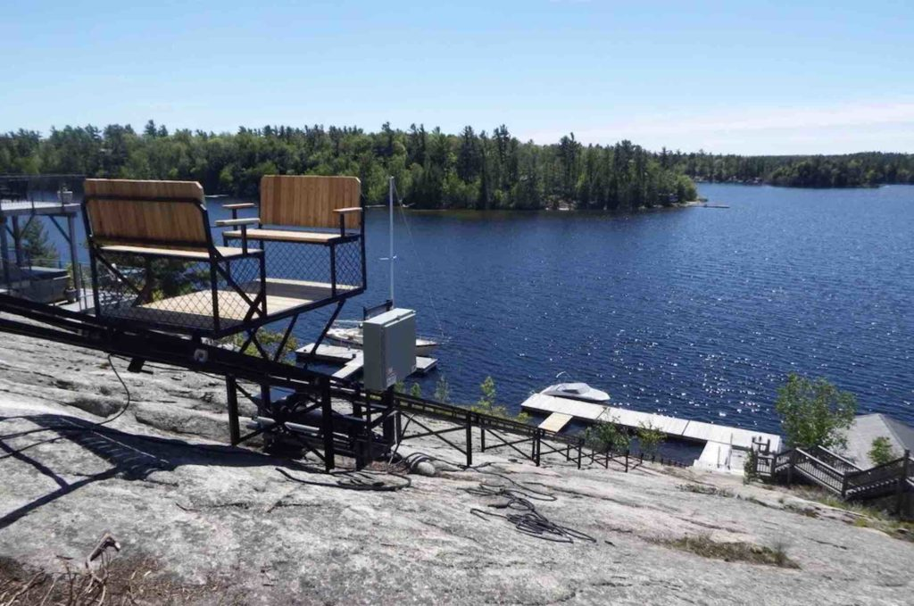 Cottage lifts elevation solutions showing view from lift to lake