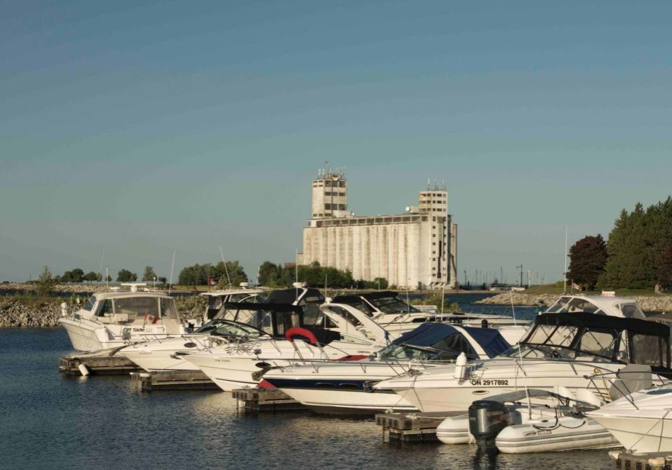 Collingwood Waterfront with old grain silos and boats
